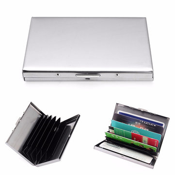 Stainless Business ID Card Holder Portable Hasp Name Card Case For Men Women
