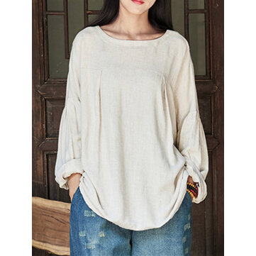 Plus Size Vintage Women Long Sleeves Cotton Blouse
