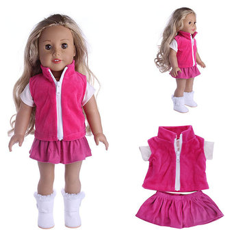 Doll Clothes Dress T-Shirt Skirt Outfit For 18 Inch American Girl