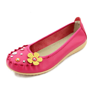 Women Comfortable Soft Casual Flower Round Toe Leather Flat Loafers Shoes