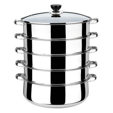 30cm 5 Tier Stainless Steel Steamer Saucepan Pot Induction Compatible Cookware