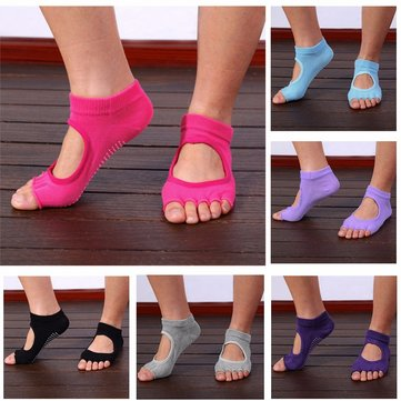 Women Girl Yoga Gym Message Non Slip Socks Five Toes Fitness Grid Foot Deodorant Hosiery