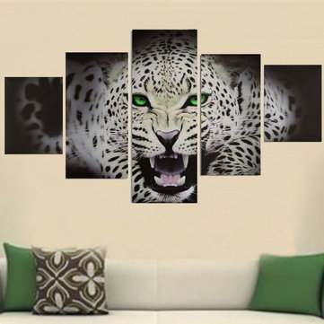 5PCS Canvas Painting Cheetah Modern Abstract Picture Wall Decoration