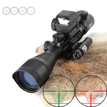 Ohhunt 4-12X50 Hunting Tactical 11mm 20mm Green Laser Combo Riflescope Illuminated Rangefinder Reticle Airsoft Scope Holographic 4 Reticle Sight