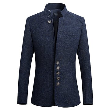 Mens Stand Collar Casual Slim Gentleman British Style Jacket