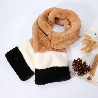Women Rex Rabbit Plush Velvet Patchwork Warm Elegant Collar Scarves Comfortable Windproof Scarf