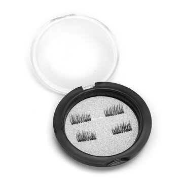4Pcs/Pair Dual Magnetic 3D False Eyelashes Long Natural Eyelashes Extension