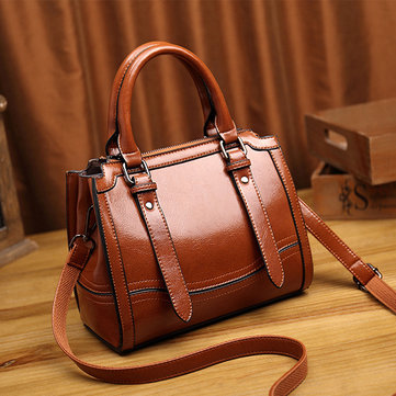 Women Faux Oil Wax Leather Handbag Large Capacity