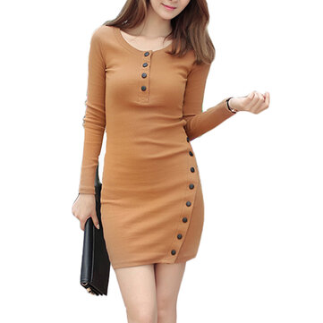 Sexy Bodycorn Button Split Long Sleeve Work Women Sweater Dress