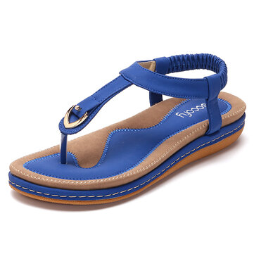 SOCOFY Comfortable Shoes Elastic Clip Toe Flat Beach Sandals US Size 5-13