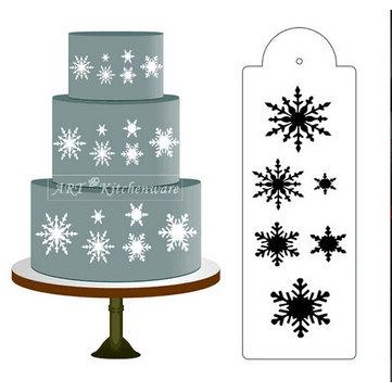 Snowflake Side Cake Stencil Border Designer Decorating Craft Cookie Baking Tool