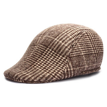 Unisex Men Women Cotton Blend Gird Stripe Newsboy Beret Hat Duckbill Cowboy Golf Flat Cabbie Cap