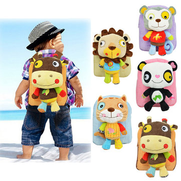 New Baby Girl Boy Lovely 3D Animal Backpack Kids Cartoon Plush Shoulder Bag Snap Package