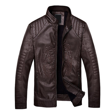 Mens Winter Velvet Plus Warm PU Leather Slim Fit Casual Fashion Jacket