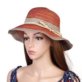 Women Summer Outdoor Mix Color Straw Hat Wide Brim Beach Sunshade Visor Hat