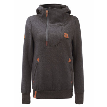 Plus Size Casual Women Zipper Long Sleeve Hoodie Sweatshirt