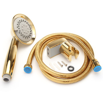 Gold 3 Function Shower Head 1.5 Metre Hose With Water Saving Bracket