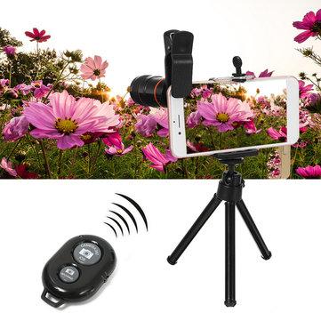 All in 1 Phone Camera Lens 8X Telescope Selfie Stick Tripod bluetooth Remote Kit