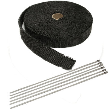 50ft Black Fiber Glass Racing Exhaust Header Pipe Wrap Tape with 6 Zip Ties