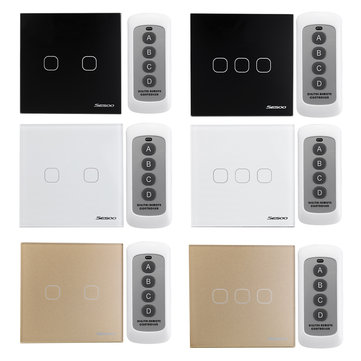 SESOO 2/3Gang Smart Wireless Remote Control Touch Wall Light Switch Dimmer Glass Panel