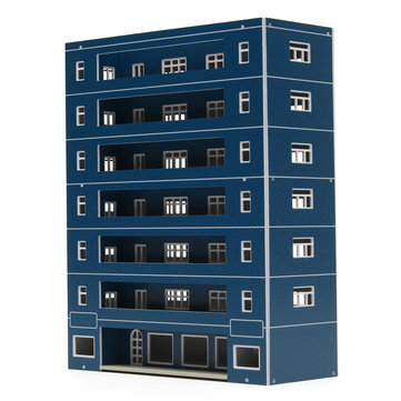 Blue Plastic Apartment Classroom Scenary Layout Model Toy For GUNDAM Building