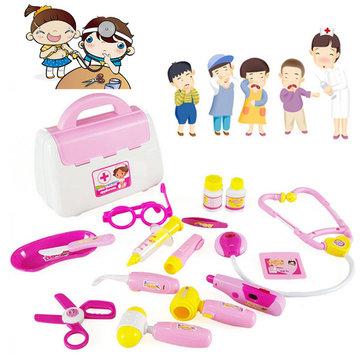 Roze 15st dokter medische set speelgoed verpleegster draagtas kind rollenspeel pretend set geval