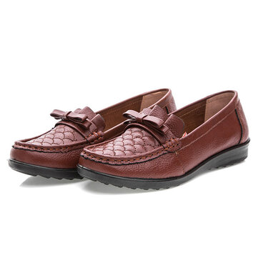 US Size 5-10 Leather Flat Shoes Women Outdoor Slip On Soft Casual Loafers