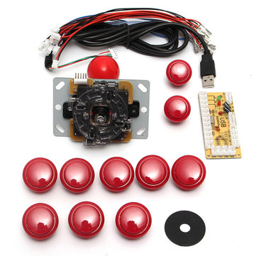 Dual Players Red Game DIY Arcade Game Console Set Kits Replacement Parts USB Encoders to PC Double Joysticks and Buttons