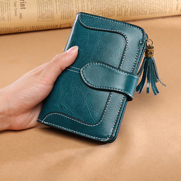 Women Genuine Leather Vintage Trifold Short Wallet 13 Card Slots Card Holder Coin Purse