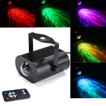 10W RGB Remote LED Water Wave Stage Lighting Disco Party Projector AC100-240V