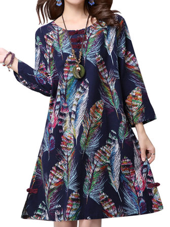 Vintage Women Chinese Frog Colorful Feather Printed Midi Dress