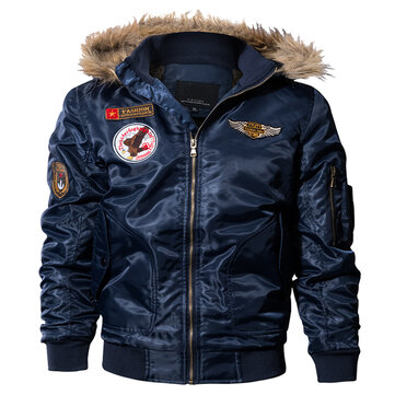 Men Pilot Bomber Jacket Army Military Flight Motorcycle Jackets Winter Parkas Padded Outerwear