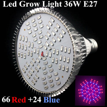 36W E27 66 Red 24 Blue Garden Plant Growth LED Bulb Greenhouse Plant Flower Seedling Light