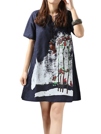 Loose Women Short Sleeve Ink Printing Cotton Linen Mini Dress
