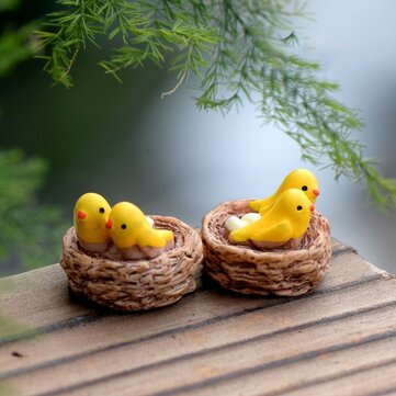 2PCS Bird Nest Resin Small Ornament Moss Micro Furnishing Articles Home Succulent Plant Decoration