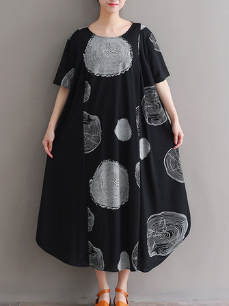 Plus Size Cotton Circle Print A-line Maxi Dress