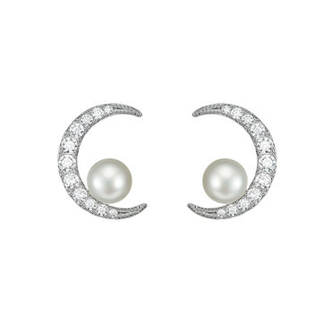 Star Moon Rhinestones Pearl Earring Jewelry for Women