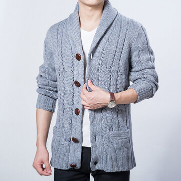 Fall Winter Mens Casual Sweater Coat Knitted Cardigan Large Lapel Long sleeves Tide Sweater