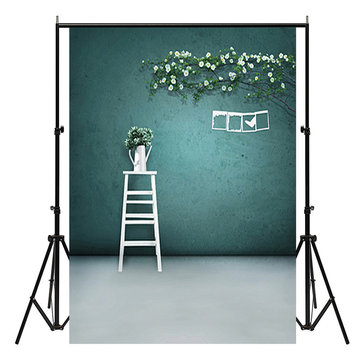 3x5ft Green Wall White Vase Indoor Photography Background Backdrop Studio Prop