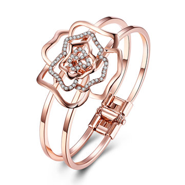 INALIS Rose Gold Plated Hollow Flower Pendant Rhinestones Bangle Bracelets