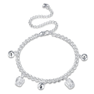 Silver Plated Bell and Crown Pendant Anklet Trendy Women Jewelry