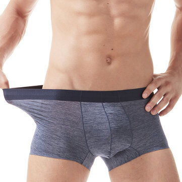 Ice Silk Semless Solid Color Breathable U Convex Boxer Underwear for Men