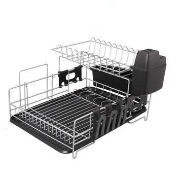 2 Tier Dish Rack Drain Shelf Kitchen Plate Bowl Cutlery Drying Tray Organizer Water Bottle Holder