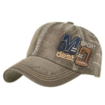 Letters Applique Embroidered Washed Denim Baseball Cap