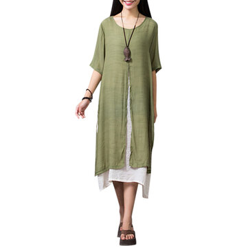 Casual False Two Pieces Linen Slit Maxi Dress For Women