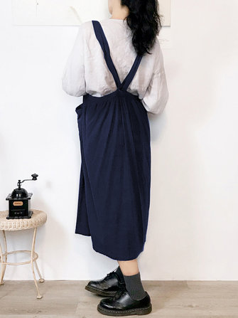 Women Japanese Adjustable Straps Apron Vintage Dress