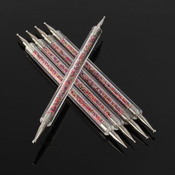 5 قطع المزدوج رئيس مسمار الفن التنقيط القلم أدوات مانيكير دي تصميم اللوحة