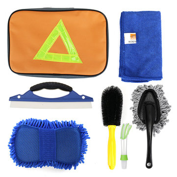 CHONGTENG Tire Brush Outlet Cleaning Brushes Small Wax Drag Towel Car Wash Cleaning Kit Seven Sets