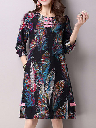 Vintage Women Long Sleeve Printed Plate Botton Dresses