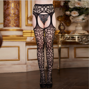 Women Sexy Garter Belt Stockings Mesh Solid Fish Net Fancy Night Club Pantyhose